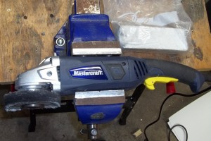 ANgle Grinder configured with a muslin buff for polishing
